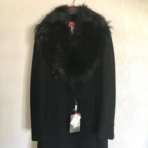 NWT Versace Couture Black Trench Coat w/Fur Collar